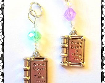 Hearing Aid Charms: Once Upon A Time Engraved Antique Silver Plated Books with Czech Glass Accent Beads!