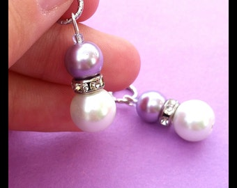 Hearing Aid Charms: Glass pearls with silver plated rhinestone accent (mother daughter set also available)!