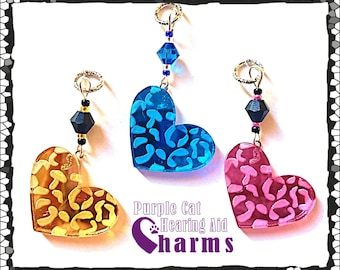 Hearing Aid Charms: Dazzling Leopard/Cheetah Print Hearts with Czech Glass and Swarovski Crystal Accent Beads! Laser cut mirrored glass back
