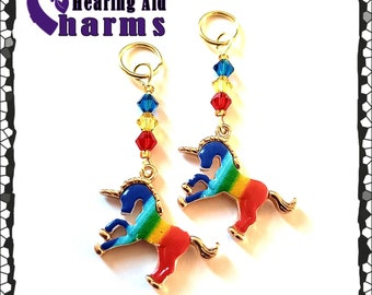 Hearing Aid Charms:  Bright and Beautiful Rainbow Unicorns with Czech Glass and Swarovski Crystal Accent Beads!