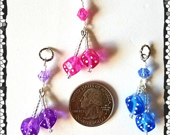 Hearing Aid Charms:  A Pair of Dice Paradise with Glass and Acrylic Accent Beads.  Also available as a matching mother daughter set!