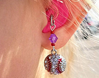Hearing Aid Charms:  Jeweled Baseball's!  Message me for with your favorite team colors for custom accent beading!