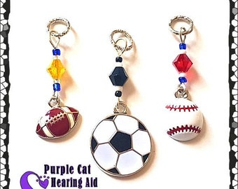 Hearing Aid Charms:  Football, Baseball or Soccer Balls with Czech Glass Accent Beads!  Personalize with you team colors!