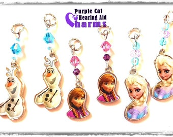 Hearing Aid Charms:  Frozen Inspired Characters with Czech Glass and Swarovski Crystal Accent Beads!  4 styles to choose from!
