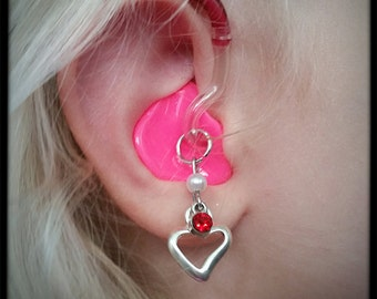 Hearing Aid Charms: Silver Heart and Birthstone Gems!!