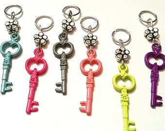 Hearing Aid Charms:  Flowered Keys in Vivid Colors (available in Matching Mother Daughter Sets)!