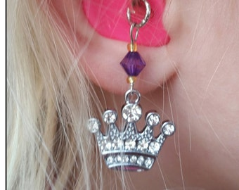 Hearing Aid Charms:  Royal Rhinestone Princess Crowns with glass accent beads!