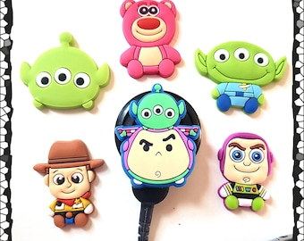 Cochlear Cuties or Hearing Aid Tube Trinkets: Toy Story Theme!  Made with silicone rubber for flexibility!  Select Quantity 2 for a pair!