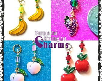 Hearing Aid Charms:  Fun Fruits with Czech Glass Accent Beads!  Bananas, Apples, Peaches, and Grapes with Czech Glass Accent Beads!