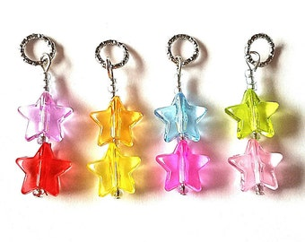 Hearing Aid Charms:  Rockin Stars with Glass Accent Beads!  Also available as earrings and matching mother daughter sets!