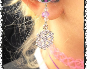 Hearing Aid Charms:Beautiful Jeweled Snowflakes with Czech Glass Accent Beads!