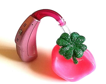 Hearing Aid Tube Trinkets:  Glitter 4 Leaf Clovers!  Please select quantity 2 for a pair!