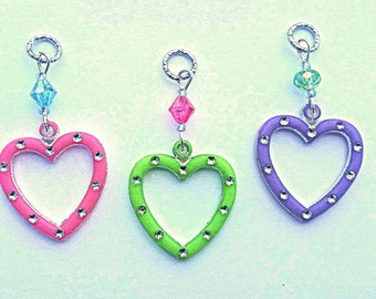 Hearing Aid Charms: Funky and Fun Hollow Hearts with Glass Accent Beads!  Also available in a matching Mother Daughter Set!