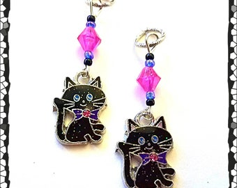 Hearing Aid Charms:Glittering Black Cats with Czech Glass Accent Beads!