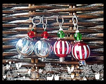 Hearing Aid Charms: Striped Glass Christmas Bulbs with glass accent beads!