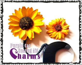 Cochlear Cuties: Sunflowers!  Offered in 2 different sizes!  Please select quantity 2 for a pair!