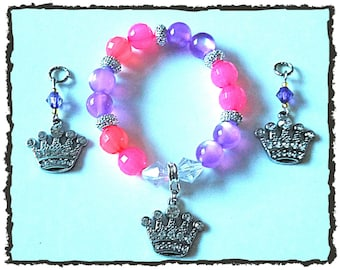 Moon Glow Acrylic Beaded Bracelet with Jeweled Princess Crown Charm (matching hearing aid charms available at a discounted bundle price)!