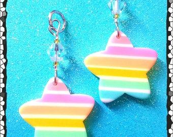 Hearing Aid Charms: Rainbow Striped Stars with Czech Glass Accent Beads!