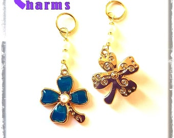 Hearing Aid Charms: Deluxe Two Sided Four Leaf Clovers with Czech Glass and faux pearl Accent Beads!