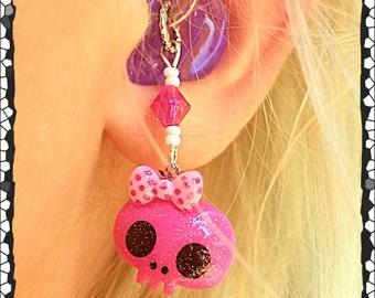 Hearing Aid Charms: Rockin Girly Glittery Skulls with Bows and Glass Accent Beads!