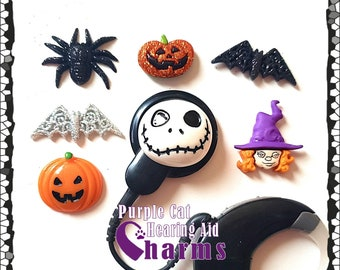 Hearing Aid Tube Trinkets or Cochlear Cuties:  Halloween Collection!  Jack-a-lanturn, bats, witch, spider or skellington!