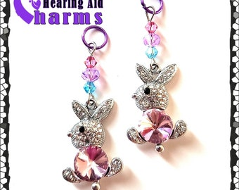 Hearing Aid Charms:  Jeweled Easter Bunnies with Swarovski Crystal and Czech Glass Accent Beads!