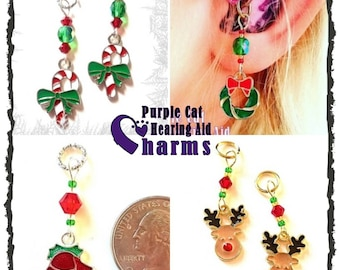 Hearing Aid Charms:  Christmas Themes with Czech Glass Accent Beads!  4 styles to choose from!