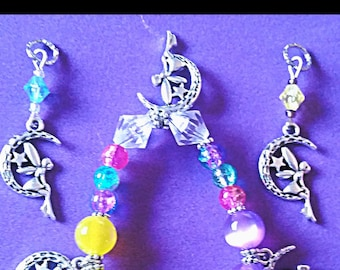 Moon Fairy Beaded Charm Bracelet with Crackle Glass and Acrylic Moon Glow Beads (matching hearing aid charms available at discounted price)!