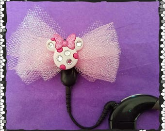 Cochlear Cuties:  Jeweled Minnie Mouse Inspired Bows!  Please select quantity 2 for a pair!