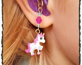Hearing Aid Charms: Bold and Beautiful Unicorns with Czech Glass Accent Beads!  Show off your hearing aids with pride!