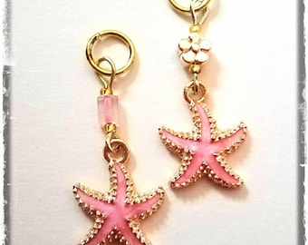 Hearing Aid Charms:  Gold Plated Pink Shell Starfish with Czech Glass Accent Beads!  Mother Daughter Set also available!