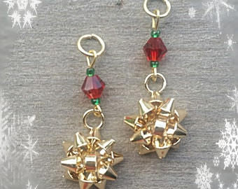 Hearing Aid Charms:  Golden Christmas Bows with red and green glass accent beads!