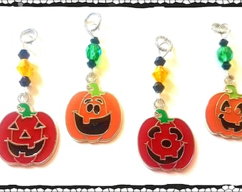 Hearing Aid Charms: Cute Halloween Jack-o-lanterns with Czech Glass Accent Beads!