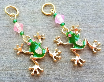 Hearing Aid Charms:  Amazing Gold Plated Green Frogs with Jeweled Heart and Eyes and Glass Accent Beads!