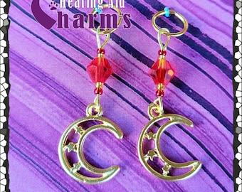 Hearing Aid Charms:  Gold Plated Crescent Moons with Czech Glass Accent Beads!