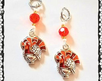 Hearing Aid Charms: 3-D Silver Plated Thanksgiving Turkeys made with Glass and Czech Glass Accent Beads!