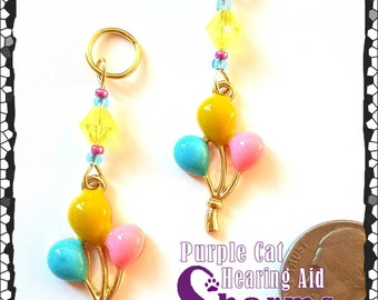 Hearing Aid Charms: Pink, Yellow and Blue Bunch of Balloons with Czech Glass Accent Beads!