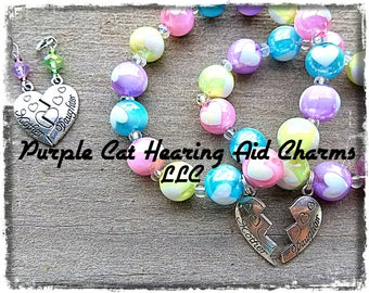 Beaded Charm Bracelet: Antique Silver Mother Daughter Connected Heart Set! Matching Hearing Aid Charms and Earrings available as set price!