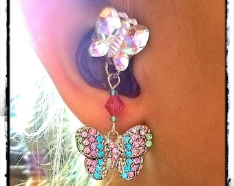 Hearing Aid Charms :  Rainbow Jeweled Butterflies with Glass Accent Heads!  ***Tube Trinkets sold separately***