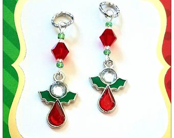 Hearing Aid Charms:  Jeweled Tear Drop Christmas Angels made with Glass and Czech Glass Accent Beads!