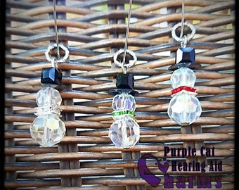 Hearing Aid Charms: Glass Snowmen!  Available in 3 cool colors!