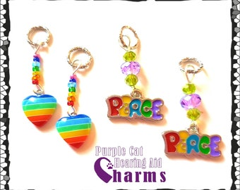 Hearing Aid Charms: Peace and Love Rainbow Striped Hearts or Peace with Czech Glass Accent Beads!