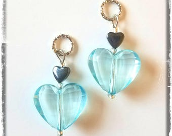 Hearing Aid Charms: Crystal Like Faceted Acrylic Hearts with Glass and Hematite Heart Accent Beads!