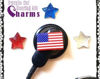 Cochlear Cuties or Hearing Aid Tube Trinkets: 4th of July Stars or American Flags!  Please select quantity 2 for a pair or mix or match!