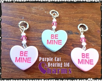Hearing Aid Charms: Candy Hearts with Czech Glass and Swarovski Crystal Accent Beads!  Not edible! 3 colors to choose from!  Be Mine!