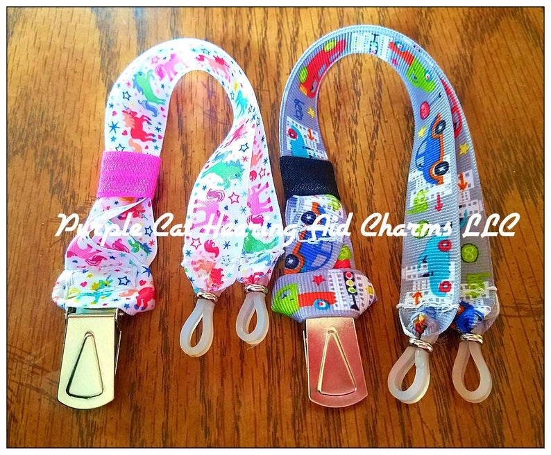 Cool Clips Rockin Aid Retainers! Made for bilateral hearing aids, cochlear  implants, unilateral, or glasses! Hearing Aid straps