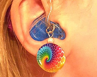 Hearing Aid Charms: Rainbow Tie-dye Swirls on Shell with Glass Pearl Accent Beads!