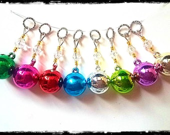 Hearing Aid Charms: Colorful Christmas Ball Ornaments with Czech Glass Accent Beads!