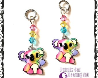 Hearing Aid Charms: Cute Rainbow Koalas with Czech Glass and Swarovski Crystal Accent Beads!