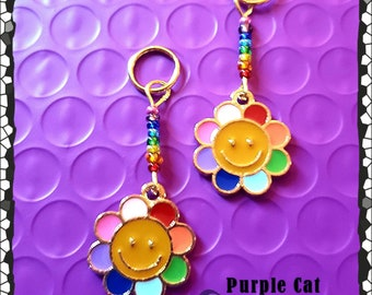 Hearing Aid Charms:  Happy Rainbow Flower with Czech Glass Accent Beads!